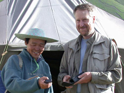 Kenichi Takahashi and Thomas Romig in the field in Shiqu, Sichuan, 4200 m alt. in July 2002.