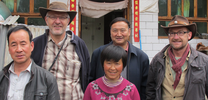 Old friends were met. Li WenKe (center behind), who helped to organize the screening in 1994-1996, and Meng Xiang Ju and her husband, from Han Chuan
