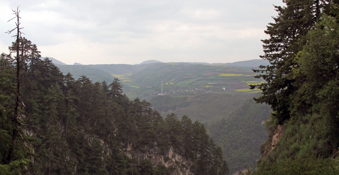 From the Gui Qin shan: original forest in the foreground and agricutural landscape after deforestation in the background