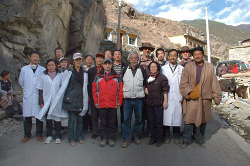 Sino-Japanese-French research group at Marihe, one of the Tibetan villages where cysticercosis is endemic