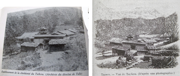 Left: old photo of the Tsekou church, right: drawing outlining the mountain ridge profiles behind