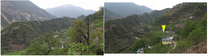 Left: moutain ridge profiles (to compare to the drawing, upper right above); right: the yellow arrow point to the Tsekou church location, now a wall nut tree orchard