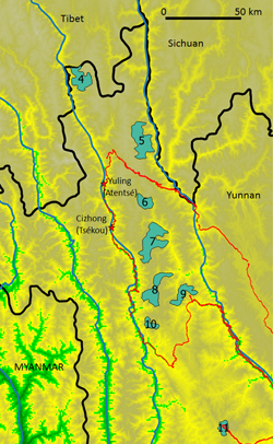All monkey groups (in blue with numbers) are settled between the eastern limit of the Jinsha jiang (upper YangTsé) and the western limit of the Lancang jiang (upper Mekong). Red line, track of the 2015 (Laojun shan; group #11) and 2016 expeditions.