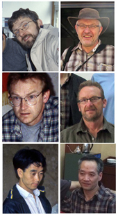 Twenty years make a time span... From top to bottom: Patrick Giraudoux, Phil Craig, Bao Genshu; left = 1996, right 2014